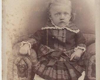 Vintage Little Girl Carte de Visite (CDV) A.E. La Tour Photographer, 1800s