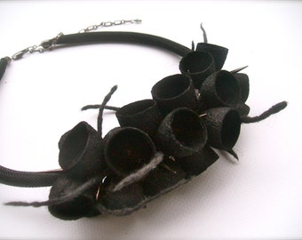 Felt necklace - necklace with cocoons - floral accessories - handmade - wool necklace - Black  necklace