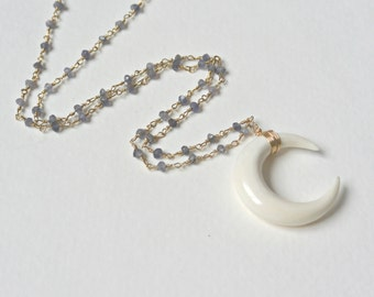 Crescent Moon Necklace, Gemstone Beaded Chain Necklace, Sideways Double Horn Necklace, Gold or Silver Jewelry, Boho Layering Necklace