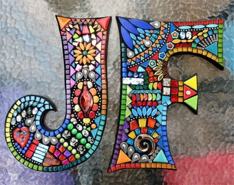 """CUSTOM MOSAIC Initials/Letters - Your Color Choice - These are 12"""" tall in the 'Wild & Funky' Style and Colors / Mixed Media / OOAK / Unique"""