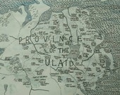 """Northern Ireland Map Art - Irish place names -  pen and ink - 50 x 40cm - 20"""" x 16"""" - hand lettered wall poster"""