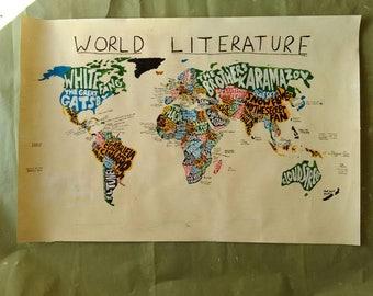 "World Literature Map  - custom  acrylic painting - 36"" x 24"""