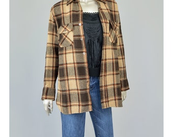 30% 0FF SALE 1970s Shirt 70s Plaid Wool Shirt Brown Plaid Shirt Long Sleeve Button Up Shirt with Pockets Unisex Medium Large M/L