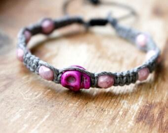 Purple Skull Hemp Bracelet