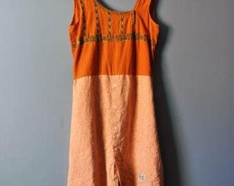 Upcycled Linen Tunic in Sunset with Sashiko Embroidery/Kanji/Upcycled Linen with a touch of India/size s