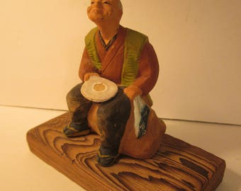 Small Clay Sculpture - Beggar Man Holding Empty Plate - Hand Painted Bisque Figure on Wood Display Base