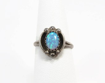 Vintage Opal Sterling Silver Ring, Size 6, Native American Navajo Style, Vintage Jewelry, Blue Opal, Estate Jewelry
