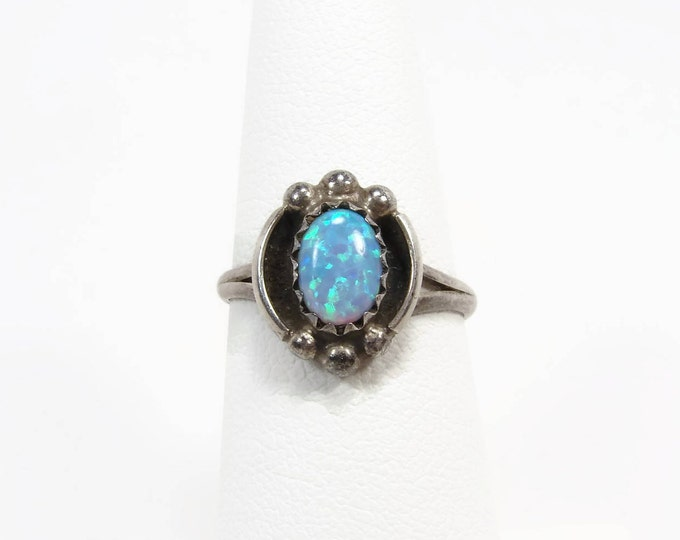 Vintage Opal Sterling Silver Ring Size 6