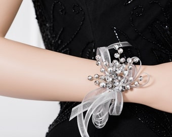 Clear & Silver Wrist Corsage - Silver Corsage for Weddings or Prom -  Wedding Corsage - Bridesmaid Corsage - Prom Corsage - Flower Corsage