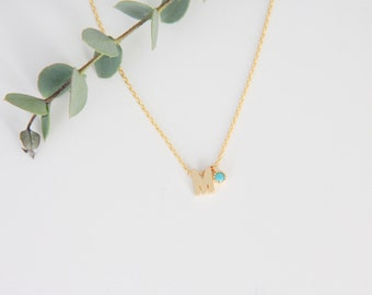 Letter Necklace with turquoise charm, Letter Necklace, Charm Necklace Gift for Her, Jewelry, Bridesmaid Jewelry Bridesmaid Gift, Necklace