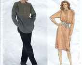 Vogue American Designer 2981 Geoffrey Beene 80s Misses Top Dress and Pants Sewing Pattern