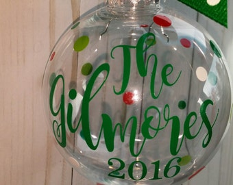 Personalized Christmas Ornaments, Glitter Filled, Acrylic Bulb, Vinyl Monogram, Monogram ornament