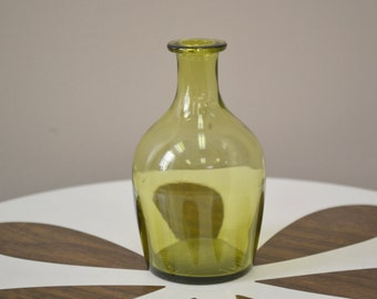 1950s Jamestown Green Glass Mini Bottle