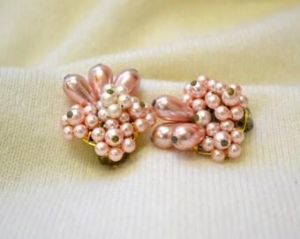 1950s Pink Pearl Cluster Clip Earrings