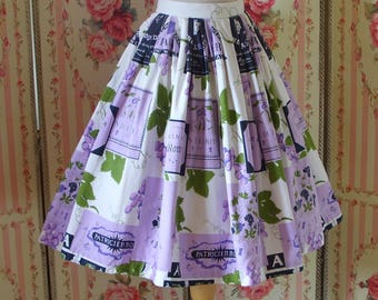 Incredible Original Vintage 1950s Novelty Wine Label & Grape Print Full Skirt by Sportaville 26 27 Waist