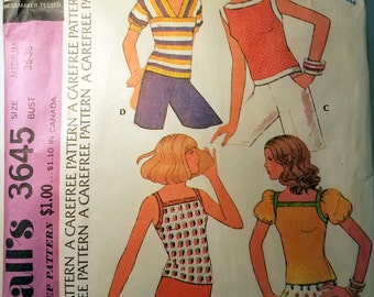 Vintage McCall's 3645 Misses Set of Four Tops Sewing Pattern Made in 1973 Size 6 - 16
