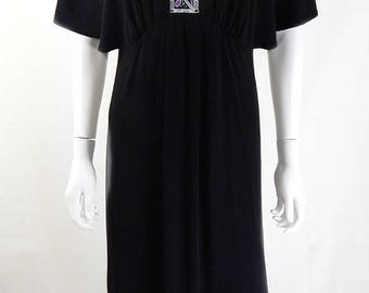 Original Vintage Bob Mackie Black Art Deco Evening Maxi Dress One Size