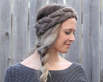 Braided Woman's Headband in Barley Brown- Ear Warmer- Other colors available