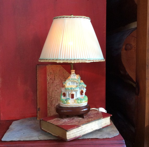Antique Staffordshire Pottery Lamp English Country Cottage