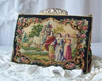 Vintage Jolles Original Petit Point Purse Sterling Silver Filigree Clasp Hand Made in Austria Gold Satin Lining Tapestry 1930s