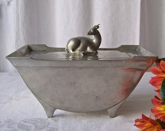 Antique Pewter Lidded Box Deer Finale Art Deco Just Andersen Denmark 1920s