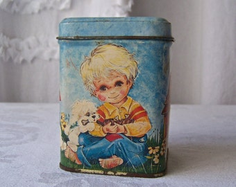 Vintage Collectable Tin Little Boys and Puppies Buttermints Hearts Open Up To Little Boys and Puppies Vintage 1970s