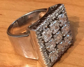 Bling STERLING SILVER MODERNIST Square Cubic Zirconia Cz Ring 9.5 grams Size 8