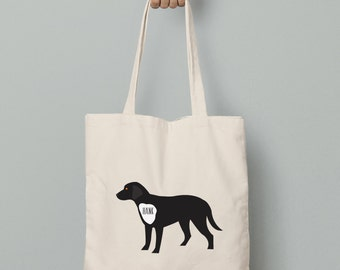Canvas tote bag, personalize black lab tote bag with custom name or wording