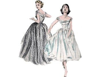"""1950s UNCUT Formal Evening Gown Ballroom Dress Formal Full Skirt Cowl In Back Vintage Sewing Pattern Size 12 Bust 30"""" Butterick 6989 G"""