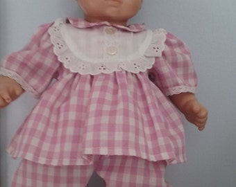 Lilac Gingham Plaid Dress and Bloomers For Bitty Baby Doll