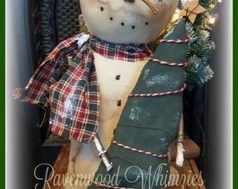 Primitive Snowman, prim snowman, primitive christmas, primitive winter, snowman, winter snowman