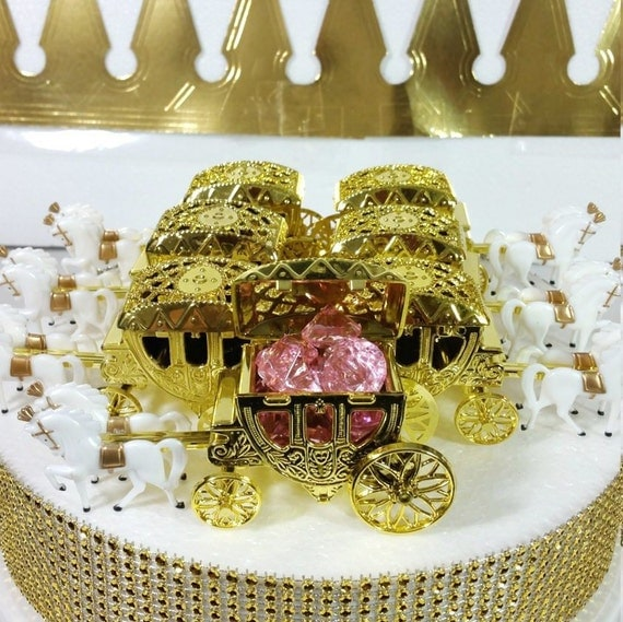 New gold horse carriage favors for princess baby