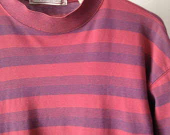 90s striped OXFORD soft SPRING t shirt top pink & purple mock turtleneck shirt