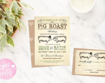 PRINTABLE PDF - Pig Roast, Hog Roast, I Do BBQ Wedding and Party Invitation