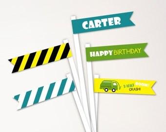 Garbage Truck Birthday Straw Flags