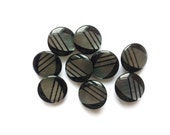 3 Black & Iridescent Grey Vintage French Buttons, 18mm