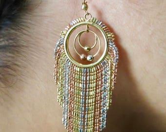 14K three tone gold earrings.