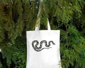 Spotted Snake -  Snake Tote - Illustrated Cotton Tote Bag - Book Bag - Gift for Animal Lover - Snake Bag - Python - Snake owne Pet Snake