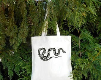 Spotted Snake -  Snake Tote - Illustrated Cotton Tote Bag - Book Bag - Gift for Animal Lover - Snake Bag - Python - Snake owne Pet Snake