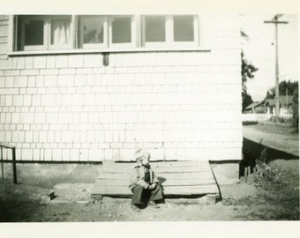 "Vintage Photo ""Waiting for His Play Pal"" Children Snapshot Antique Photo Old Black & White Photograph Found Paper Ephemera Vernacular - 181"