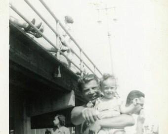 """Vintage Photo """"Day at the Pier"""" Children Beach Dad Snapshot Antique Photo Old Black & White Photograph Found Paper Ephemera Vernacular - 175"""