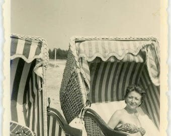 """Vintage Picture """"The July Sunbather"""" Beach Ocean Chair Sunbathing Woman Bathing Suit Fashion Girl Lady Vernacular Found Photograph - 109"""