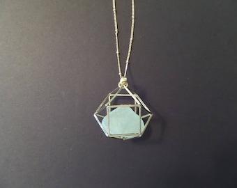 Light Green Sea Glass Scottish Necklace in Open Cube Pendant, Gold Tone Necklace from Scotland, Aqua Beach Glass