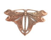 Raw Brass Art Nouveau Deco Dragonfly Butterfly Large Focal 99 x 63mm Stamping from Antique Molds for Victorian and Steampunk Art