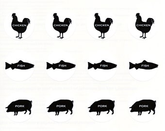 Meal Choice Stickers 1 | Wedding Menu or Party Meal Stickers | Sheet of 20 | 1.5 inch Seals