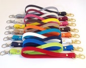 BigClip SkinnyStraps - Make any clutch or wallet a wristlet with an easy clip on strap, key ring strap, Gold or Silver, 15 color options
