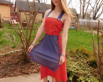 Vintage Apron Dress, Pinafore, Red White and Blue Floral Sundress, Size XS, Small