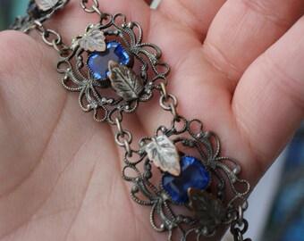 Vintage Art Nouveau Blue Glass Czech Open Back Floral Bracelet 1910s