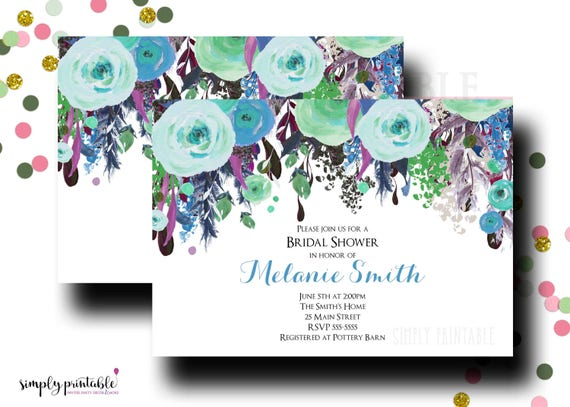 Bridal Shower Invitation, Wedding Shower Invite, Watercolor Floral, Green Blue Aqua Purple Floral Bouquet