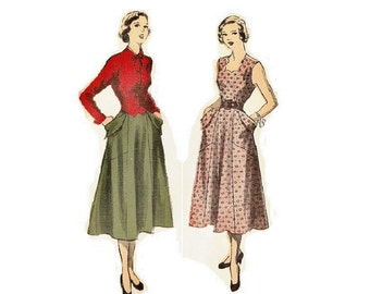 1940s Misses Dress and Jacket Pattern, Square Neckline, Sleeveless, FF, Bust 33, Size 15, Advance 5380 Vintage Sewing Pattern